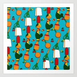 Whimsical Stacks and Knick Knacks - pattern Art Print
