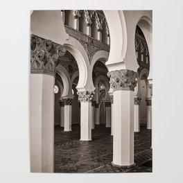The Historic Arches in the Synagogue of Santa María la Blanca 5, Toledo Spain Poster