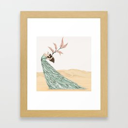 Pastel Dancer With Leafs & Feathers - Art Print/ Wall Décor / Wall Art Framed Art Print