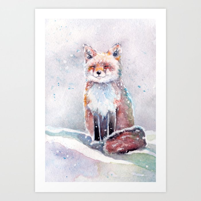 Fox in the Snow watercolor painting Art Print