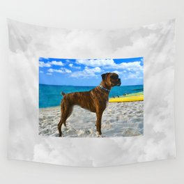 BOXER DOG SURFER BEACH BUM AND FRIEND Wall Tapestry