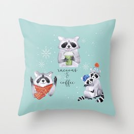 Coffee racoons Throw Pillow