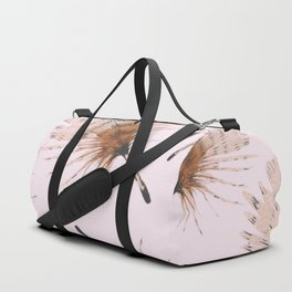 Delicate Brown Feather Seamless Pattern On Pink Duffle Bag