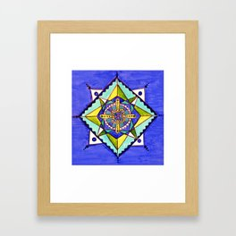 Mandala blues Framed Art Print