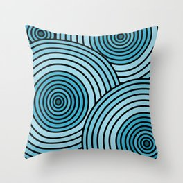 Sea-Blue Circle Pattern Throw Pillow