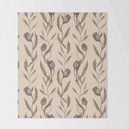 Poppy Pod Pattern Throw Blanket