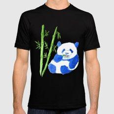 Panda eating bamboo Watercolor Print MEDIUM Mens Fitted Tee Black