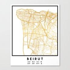 BEIRUT LEBANON CITY STREET MAP ART Canvas Print