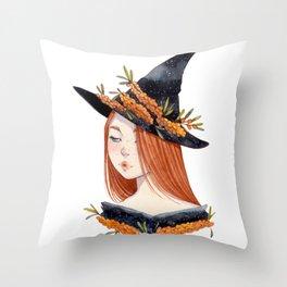 Sea Buckthorn Witch Throw Pillow