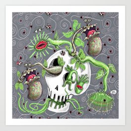 skull pot with carnivorous plants Art Print