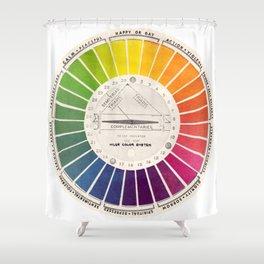 Vintage Color Wheel - Art Teaching Tool - Rainbow Mood Chart Shower Curtain
