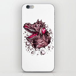Dino with Headphones Puce iPhone Skin
