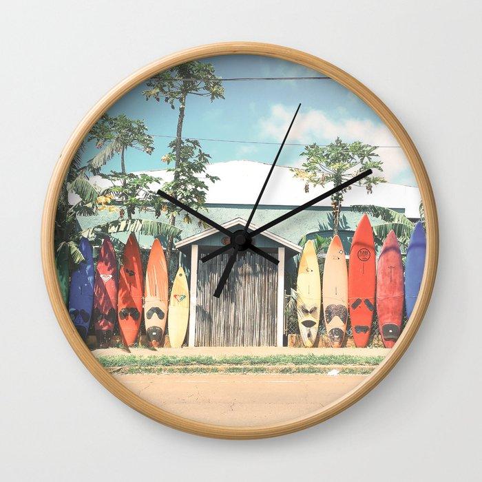 Surfboards Maui Hawaii Wall Clock