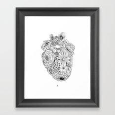 Responding Heart - Black and White Vintage Print Framed Art Print
