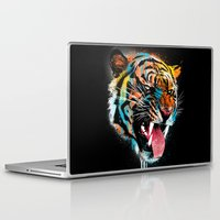card Laptop & iPad Skins featuring FEROCIOUS TIGER by dzeri29