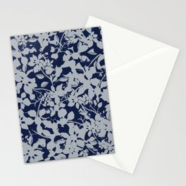 Blue and Grey Floral Pattern - Broken but Flourishing Stationery Cards