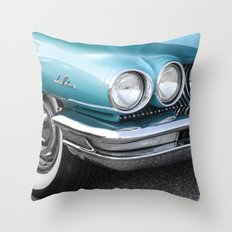 Vintage Car Photography   Turquoise Bedroom Art Throw Pillow