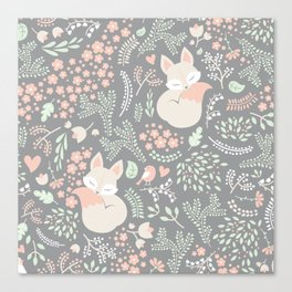 Sleeping Fox - grey Canvas Print