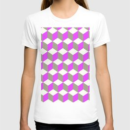 Diamond Repeating Pattern In Ultra Violet Purple and Grey T-shirt