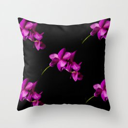 Dark Orchid Floral Throw Pillow