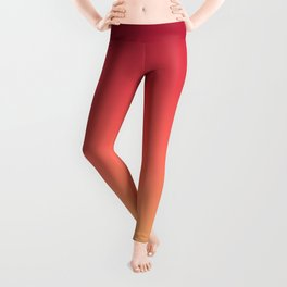 Red Orange Coral Yellow Gradient Ombre Pattern Leggings