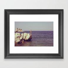 rocks at tonnara di scopello Framed Art Print