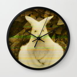 Retro Glitch Vibe Kangaroo Print Wall Clock