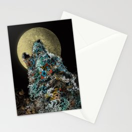 floral animals howling wolf Stationery Cards