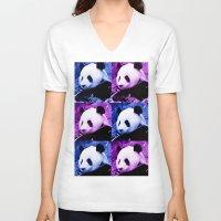 pandas V-neck T-shirts featuring Pandas by GrOoVy Photo Art