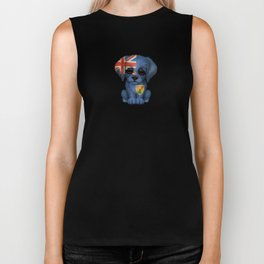 Cute Puppy Dog with flag of Turks and Caicos Biker Tank
