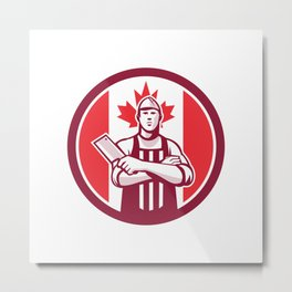 Canadian Butcher Front Canada Flag Icon Metal Print