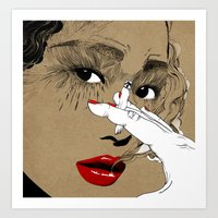 smoking Art Prints featuring Smoking by Sarah Howell