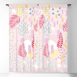 Organic Nature - Colourful Doodle Pattern 4 Blackout Curtain