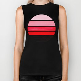 Red Mid Century Modern Minimalist Circle Round Photo Staggered Sunset Geometric Stripe Design Biker Tank