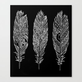 Patterned Plumes - White Canvas Print