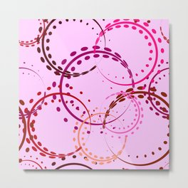 Pastel curls and circles of burgundy shades on a pink background. Metal Print