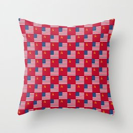 Mix of flag:  Usa and USSR Throw Pillow