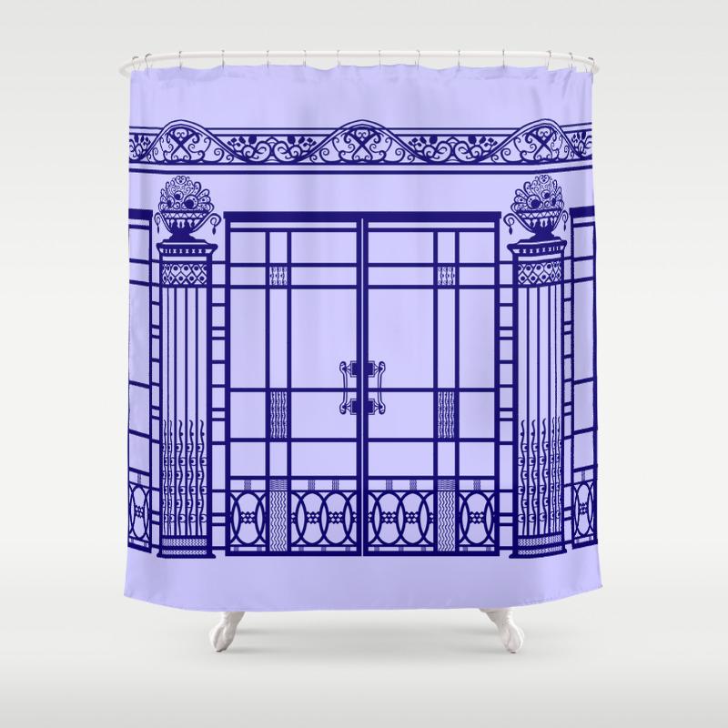 Art Deco Nouveau Ironwork French Blue Shower Curtain
