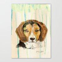 beagle Canvas Prints featuring Beagle by Tammy Kushnir