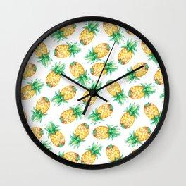 Tropical sunshine yellow green watercolor pineapple Wall Clock