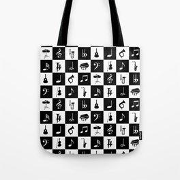 Contemporary Music themed checks Tote Bag