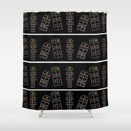 Black, Hopscotch, Colors, Shower Curtain