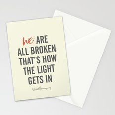 Ernest Hemingway quote, we are all broken, motivation, inspiration, character, difficulties, over Stationery Cards