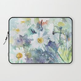 watercolor drawing - white daisies, beautiful bouquet, painting Laptop Sleeve