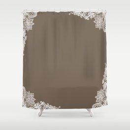 White Lace Mocha Decoration Vintage Lace Brown Retro Lace Henna Print Shower Curtain