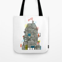 camp Tote Bags featuring Holiday Camp by Marcelo Romero