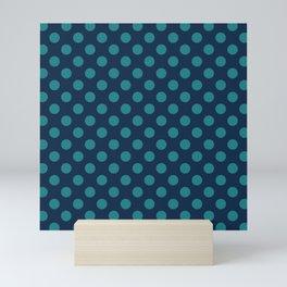 Large Polka Dots in Teal on Navy Blue Mini Art Print
