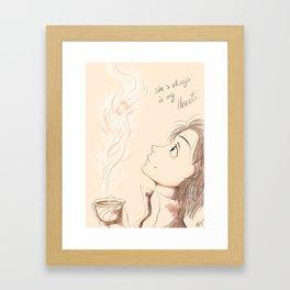 She is always in my heart  Framed Art Print