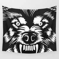 bad wolf Wall Tapestries featuring big bad wolf II by Taranta Babu