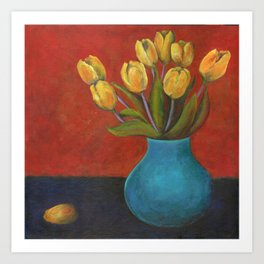 Yellow Tulips in Blue Vase Art Print